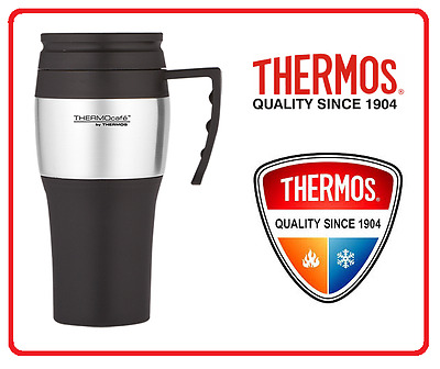AU19.95 • Buy ❤ THERMOS THERMOCAFE 400ml TRAVEL MUG Insulated Cup Coffee Tea BLACK + SILVER ❤