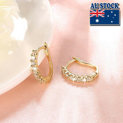 AU8.89 • Buy  Wholesale 18K Gold Filled GF Huggie Hoop Earrings With Zircon CZ Crystal