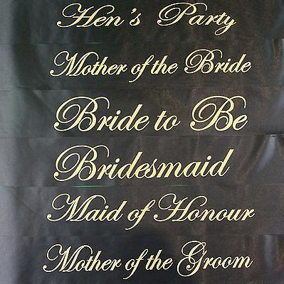 Gold & Black Luxury Hen Night Party Sashes Bride To Be Bridesmaid Mother Of Sash • 0.99£
