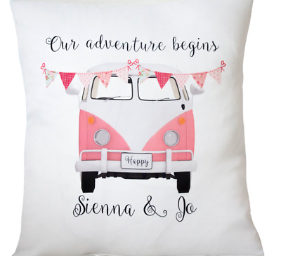 Personalised Pink Campervan - 16  Cushion Cover Shabby/vintage/wedding/gift • 6.50£