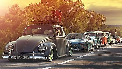 £20 • Buy Vw Camper Van Beetle Karmann Procession Parade Canvas Wall Art Poster Print Cars