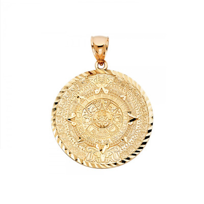 10k Solid Yellow Gold Aztec Calendar Pendant Sun Round Medal Necklace Charm 303 80