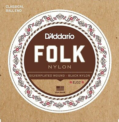 $ CDN13.12 • Buy D'Addario EJ32 Folk Nylon Ball End Guitar Strings Silver Wound/Black Nylon
