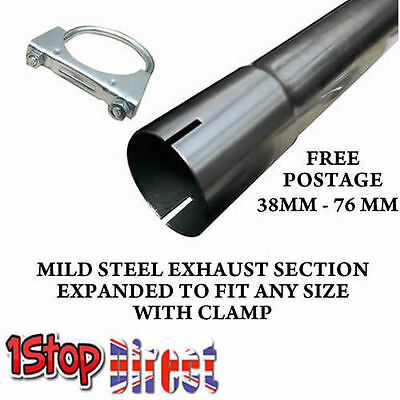 Mild Steel Exhaust Pipe Tube Repair Section Expanded + U Bolt Clamp Heavy Duty • 10.99£