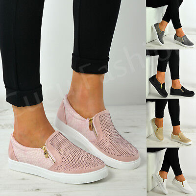 $ CDN29.79 • Buy New Womens Ladies Slip On Studded Flat Trainers Zip Shoes Size Uk 3-8