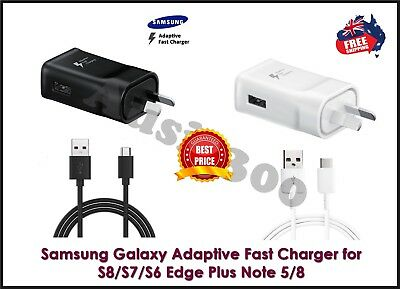 AU16.95 • Buy GENUINE SAMSUNG FAST Wall Charger & Cable Galaxy S6 S7 S8 S9 S10 S20+ Note 8 9