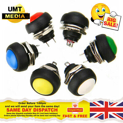 12mm Round Push Button Momentary SPST Switch Black White Red Green Blue Yellow • 1.45£