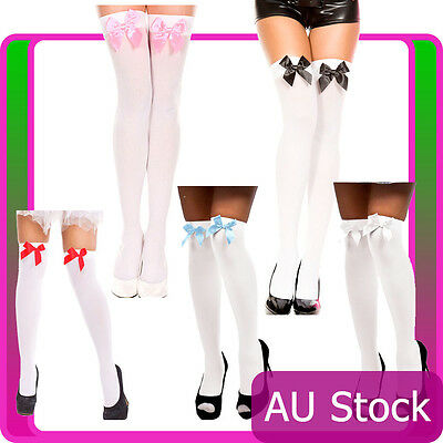 $8.40 • Buy White Thigh High Stockings With Bow Beer Maid Wench Oktoberfest Costume Tights