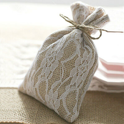 1/10/50/100 Burlap Lace Gift Bags W/Twine 8x12cm Wedding Favor Jewelry Pouch UK • 24.99£