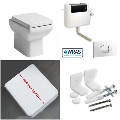 £162 • Buy Compact Mini Square Back To Wall Toilet Pan WC BTW Soft Close Seat Concealed