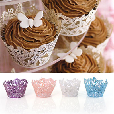 £3.69 • Buy 25-100 Lace Laser Cut Cupcake Wrapper Liner Butterfly Paper Baking Cup Muffin UK