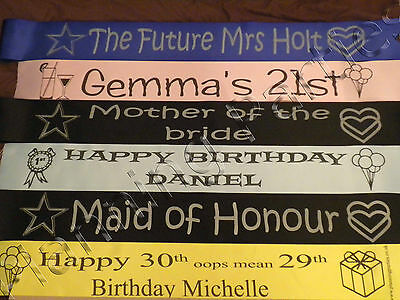 £3 • Buy Personalised Sash Hen Party Stag Night, Single Or Double Sided Print  * FREE P&P