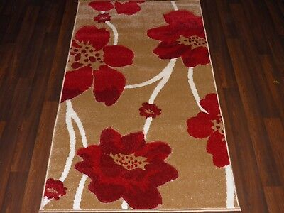 £32.99 • Buy Modern Rugs Approx 5x2ft6 80cmx150cm Woven Thick Best Around Beige/Red Poppys