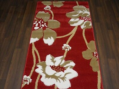 £32.99 • Buy Modern Rugs Approx 5x2ft6 80cmx150cm Woven Thick Best Around Red/Beige Poppy