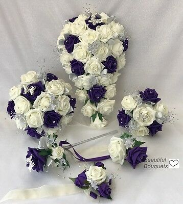 £32 • Buy Wedding Bouquets Flowers Ivory Rose Purple, Bride, Bridesmaid, Flower-Girl Wand