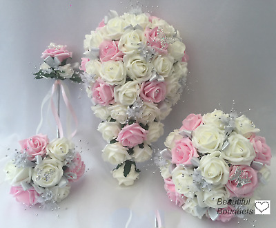 £32 • Buy Wedding Flowers Ivory Rose Crystal Bouquet, Bride Bridesmaid, Bouquets Pink Wand