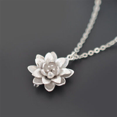 $ CDN2.22 • Buy Women Silver Plated Lotus Flower Necklaces Pendants Elegant Necklace Jewelry