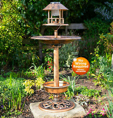 3 In 1 Solar Powered Bird Bath, Feeder & Planter With White LED Light  • 32.95£