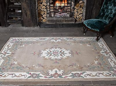 £93.95 • Buy Aubusson Lotus Premium Wool Rugs Fawn Traditional Hand Carved Chinese Rug Runner