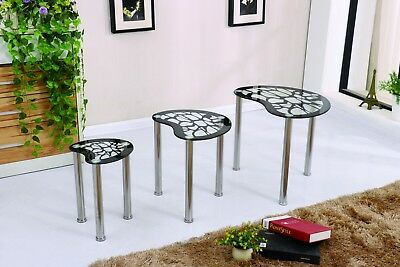 Black Pattern Design Tempered Glass Nest Of 3 Table Set Chrome Frame Budget Sale • 75£