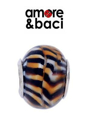 AMORE & BACI 925 Sterling Silver TIGER STRIPE LARGE MURANO Charm Bead • 14.99£