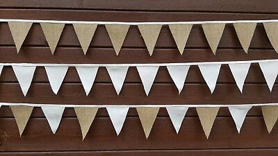 £4.99 • Buy  MINI BUNTING 1.50m 16Flags Hessian/Cotton/Lace/ Fabric WEDDING,CHRISTMAS PARTY