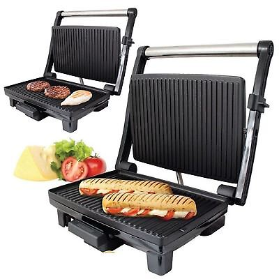 2in1 Non-Stick Stainless Steel 4 Slice Panini Sandwich Press &Health Grill 1500w • 26.95£