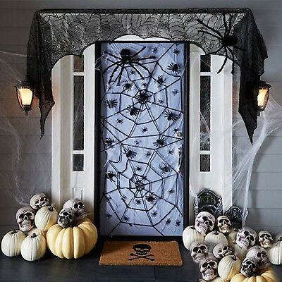 $ CDN13.35 • Buy Halloween 2017 Props Party Scary Indoor Vintage Decorations Lace Spider Black
