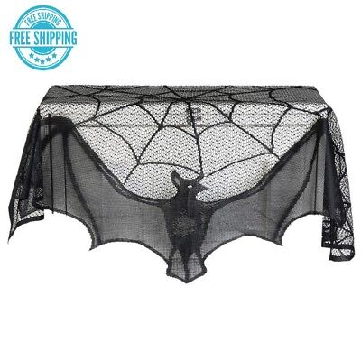 $ CDN11.24 • Buy Halloween 2018 Props Party Scary Indoor Decorations Table Cover Black Lace Bat