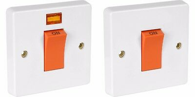 £9.99 • Buy Crabtree 45A Double Pole White Cooker Switch With/without Neon