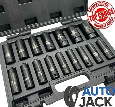 1/2  Drive Metric Deep Impact Socket Set 16 Piece 10-32mm In Case Garage Quality • 29.95£
