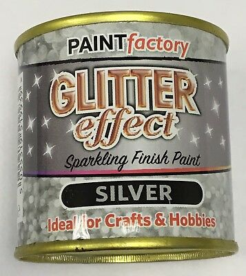 1 X Glitter Effect Silver Sparkling Finish Paint 125ml Can!! Craft And Hobbies • 5.99£