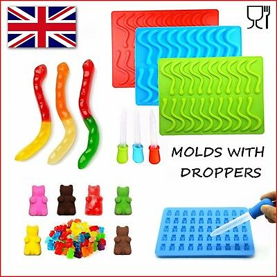 £5.99 • Buy Snakes Worms And Gummy Bears Silicone Mold Chocolate Molds Jelly Mould Ice Tray