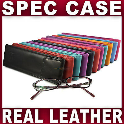 £7.99 • Buy Real LEATHER SLIM GLASSES CASE Spec Reading Sun Sleeve Pouch Gents Ladies Women