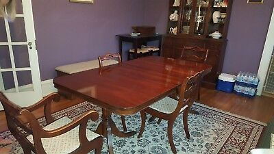$1375 • Buy Mahogany  Dining Room Set- Table 4 Chairs - 1 Leave And China Cabinet