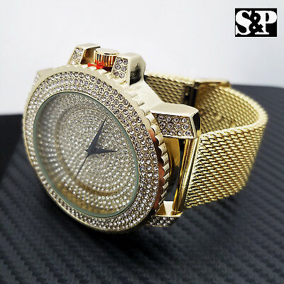 $ CDN44.58 • Buy Men's Gold Plated Luxury Full Iced Stainless Steel Mesh Band Hip Hop Watch