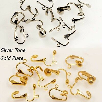 AU3.30 • Buy 10 Clip On Earrings Converter Stud Earring Drops In Gold Plate Or Silver Tone