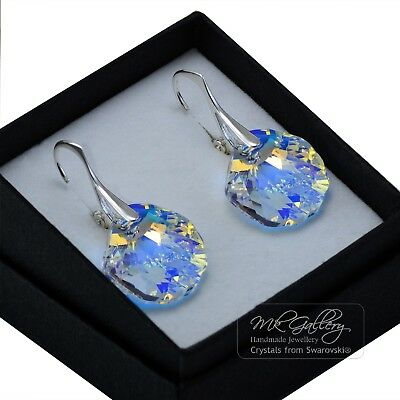 £16.99 • Buy 925 Sterling Silver Earrings 16mm SHELL *CRYSTAL AB* Crystals From Swarovski®