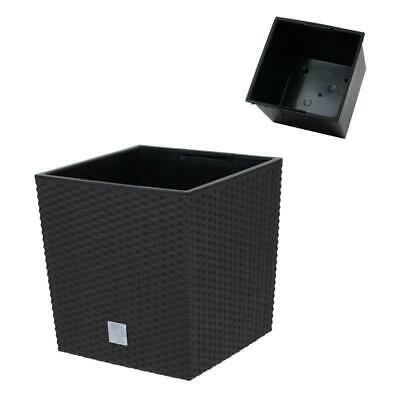 Black Rattan Square Plant Flower Pot Garden Home Holder Pots Planter Herb 23cm • 8.99£