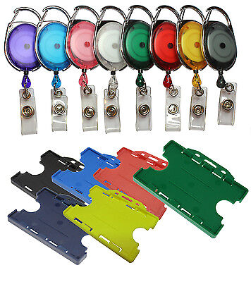 Premier Yo Yo Retractable Badge Reel Holder With Double Sided ID Card Holder Lot • 2.97£