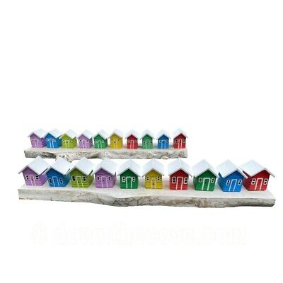 £36.95 • Buy Row Of 10 Wooden Beach Huts - Seaside Ornament - Great Gift - Fast Tracked Post!
