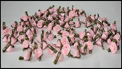 £2.70 • Buy Small Mini Satin Rose Buds Flowers With Green Leaves For Applique Craft