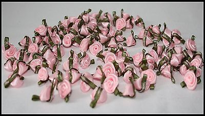 Small Mini Satin Rose Buds Flowers With Green Leaves For Applique Craft • 1.90£