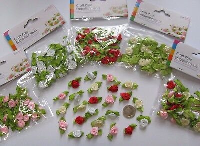 RIBBON ROSES BUDS Red Pink Cream White Crafts Card Making Haberdashery Sewing 24 • 2.99£