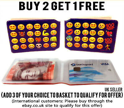 £1.99 • Buy Blue Emoji Bus Pass Credit Travel Rail Slim Wallet Id Holder For Oyster Card
