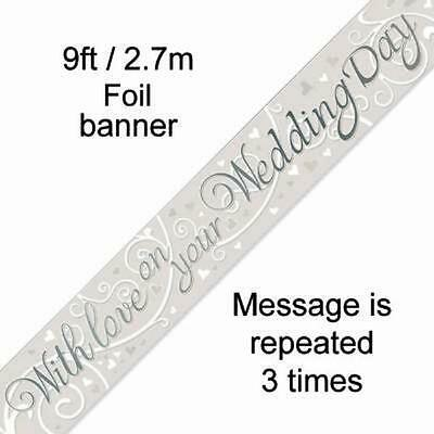 9 FT FOIL BANNER  With Love On Your Wedding Day  WEDDING CELEBRATION • 2.19£