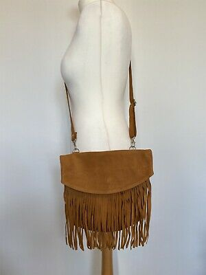 £30.99 • Buy Tan Suede Fringe Crossover Bag With Adjustable Strap H26xW29cm