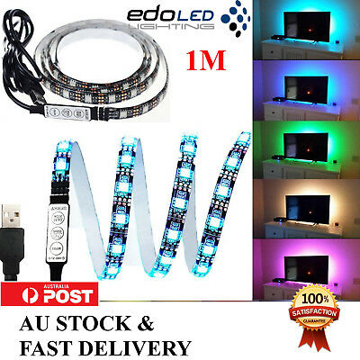 AU10.79 • Buy 1m 5v Rgb Led Strip Light Colour Change Usb Kit Background Lighting Tv Pc Laptop