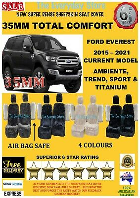 AU248 • Buy Ford Everest All Years Super Dense Sheepskin Car Seat Covers Pair Abag Safe 35MM