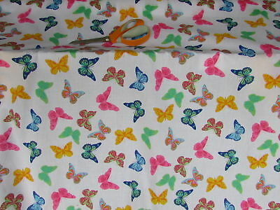 £3.99 • Buy Colourful Butterfly PolyCotton Fabric Metre Multi Coloured 2 To Choose From